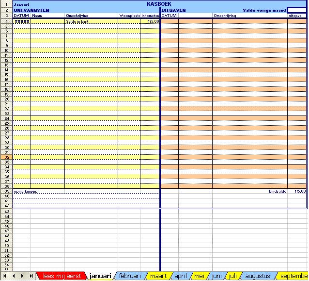 Ms Excel rekenmodel kasboek zonder btw