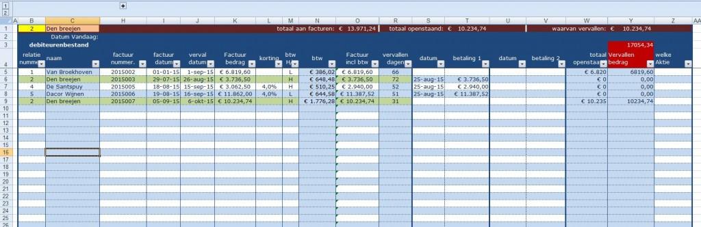 Ms Excel rekenmodel debiteuren-Crediteurenbeheer. tabblad boekingslijst met overzicht vervaldata openstaande posten