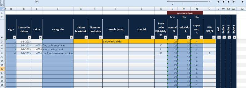 kas- bankboek Nderlandstalig voor spaanse administratie met 3 btw tarieven