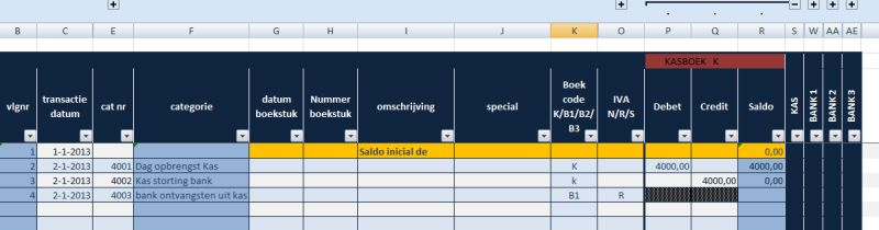 kas- bankboek Nderlandstalig voor spaanse administratie: alleen het kasboek geopend