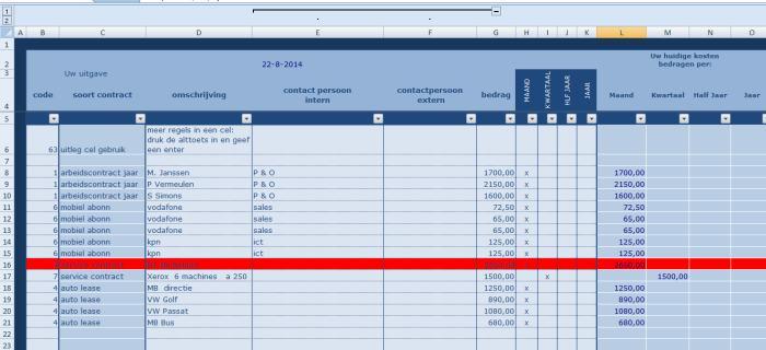 Ms Excel rekenmodel contractenbeheer. tabblad soorten contracten