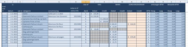 kas- bankboek inclusief declaraties tbv zorgverzekeraars