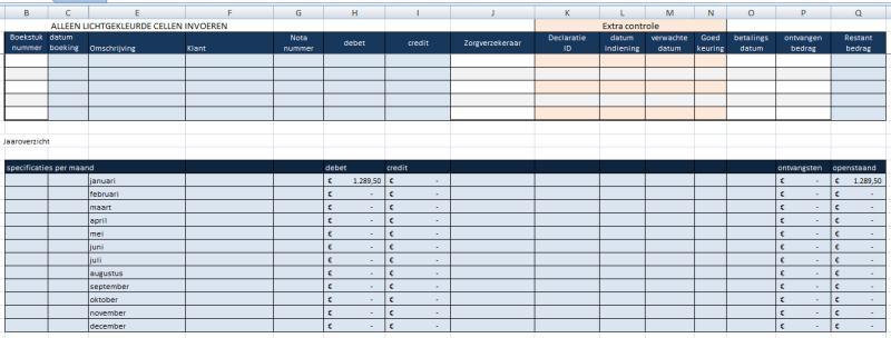 kas- bankboek inclusief declaraties tbv zorgverzekeraars: tabblad zorgverzekeraars specificatie per maand