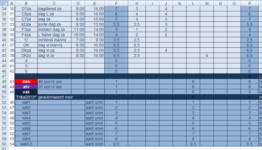 Het Trika Ms Excel Rooster: tabblad codes en werktijden, vakantie en ziekte uren
