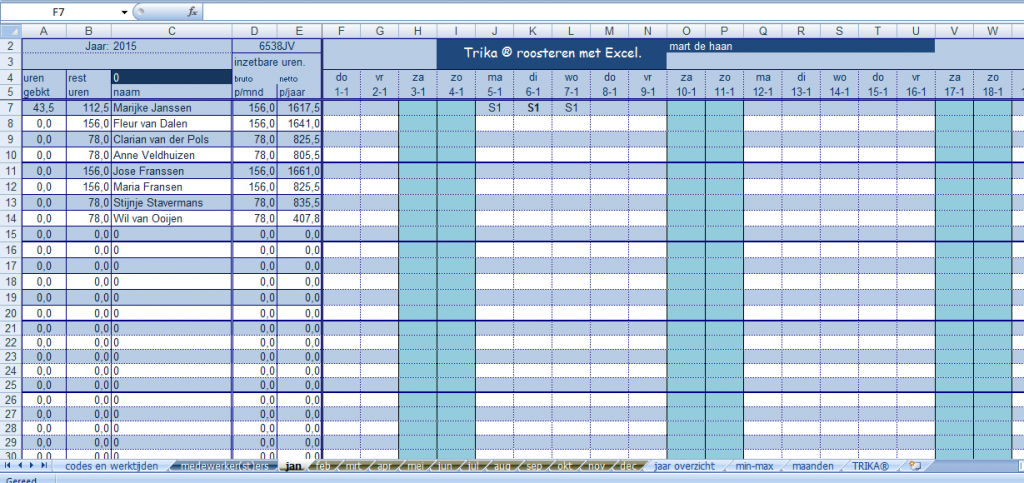 Het Trika Ms Excel Rooster: tabblad rooster