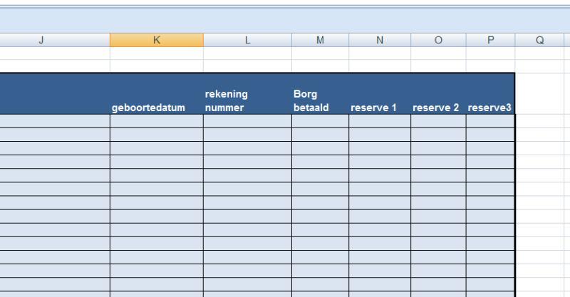 Ms Excel ® Trika Rekenmodel Verhuur huizen en kamers. tabblad huurdersbestand detail rechts op het tabblad