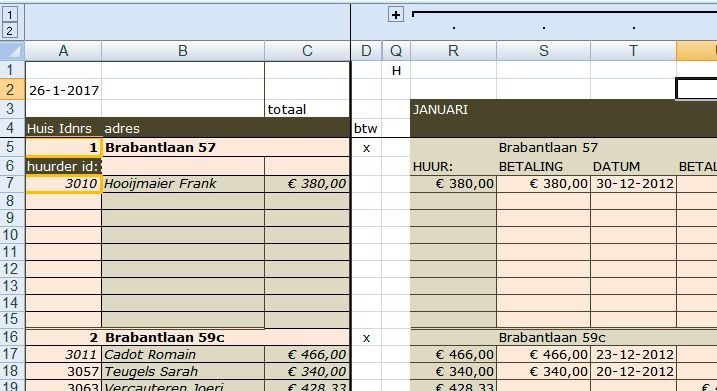 Ms Excel ® Trika Rekenmodel Verhuur huizen en kamers. Opgave wel of niet btw plichtig