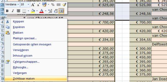 Ms Excel ® Trika Rekenmodel Verhuur huizen en kamers. het rekenmodel aanpassen regels eraf of erbij