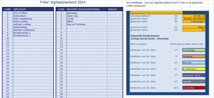 digitaalplanbord maatwerk: tabblad instellingen