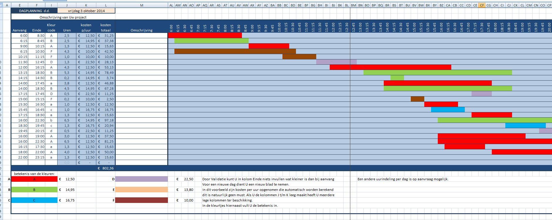 Strokenplanner excel for Planning maken