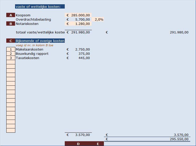 ms excel rekenmodel kosten koper. Afbeelding bovenste gedeelte van het rekenmodel
