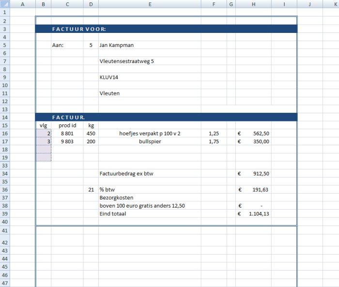 Productie en voorraadbeheer petfood   excel spreadsheet.nl