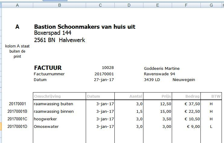 factuur in Excel   excel spreadsheet.nl