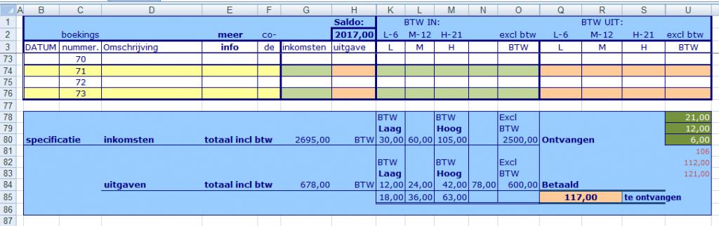 ms excel rekenmodel kas- bankboek met btw administratie voor 3 verschillende btw tarieven, onderaan vindt U de totalen