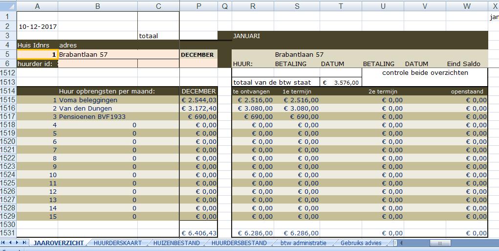 Ms Excel ® Trika Rekenmodel Verhuur huizen en kamers. maandoverzicht huurontvangsten per eigenaar