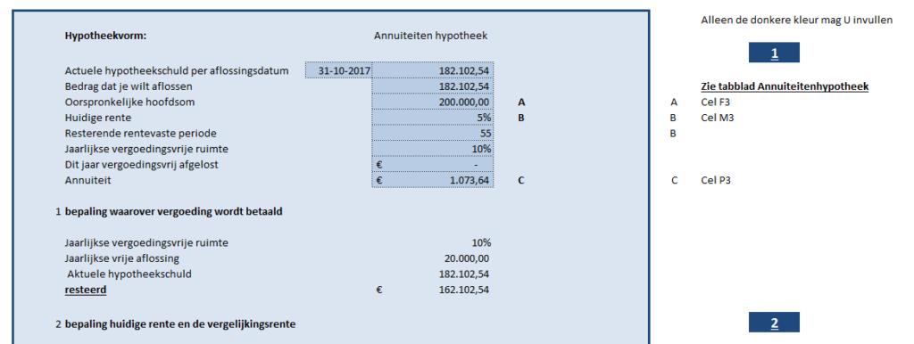 Dit is het bovenste gedeelte van het invulformulier om de boeterente annuïteitenhypotheek uit te rekenen.