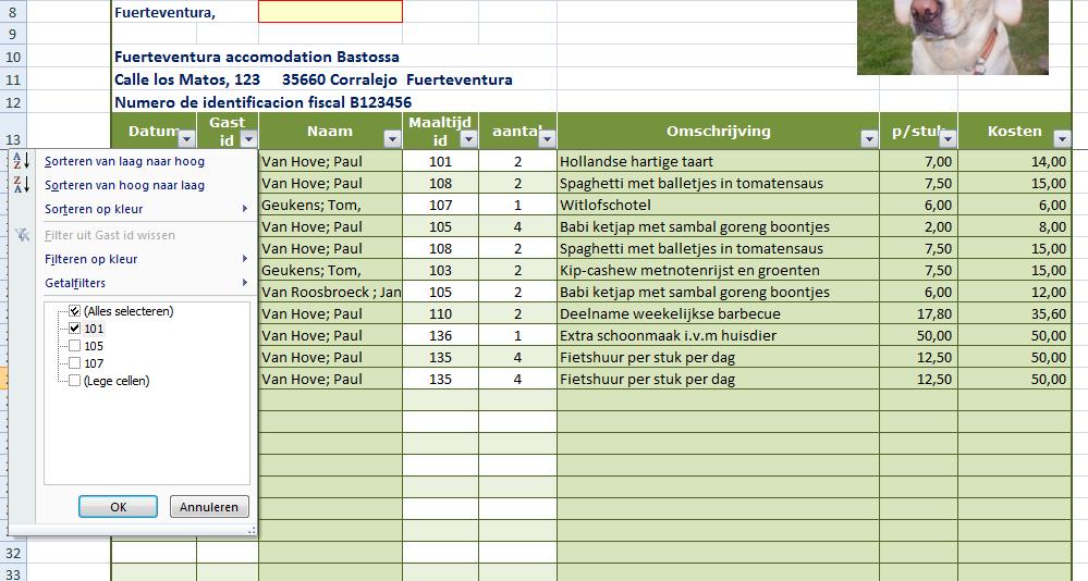 het filter gebruiken van de prijslijst van het rekenmodel bijkomende kosten vakantiehuis eindafrekening