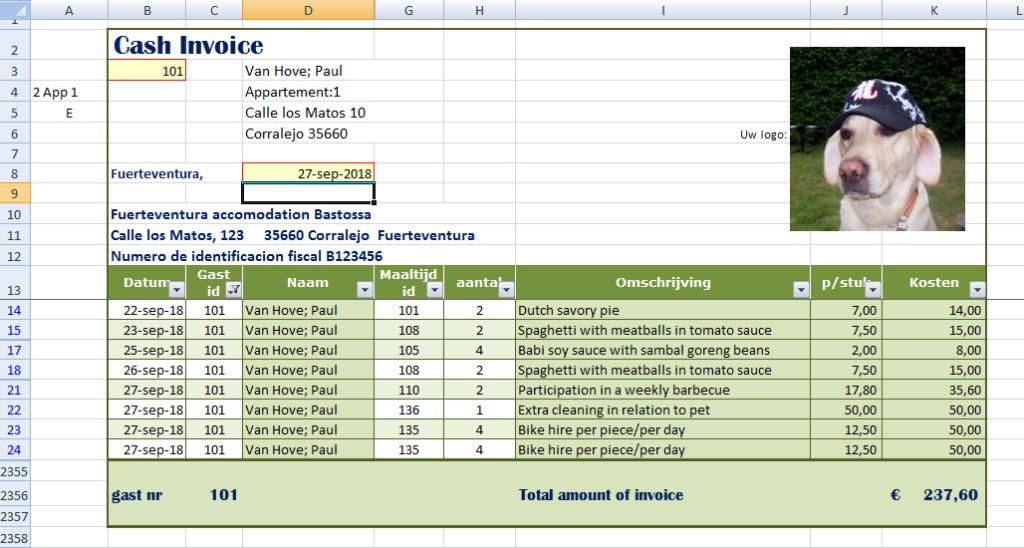 de gefilterde gegevens van rekenmodel bijkomende kosten vakantiehuis eindafrekening