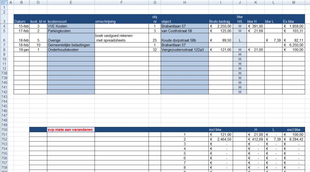 administratie kosten verdeling per object