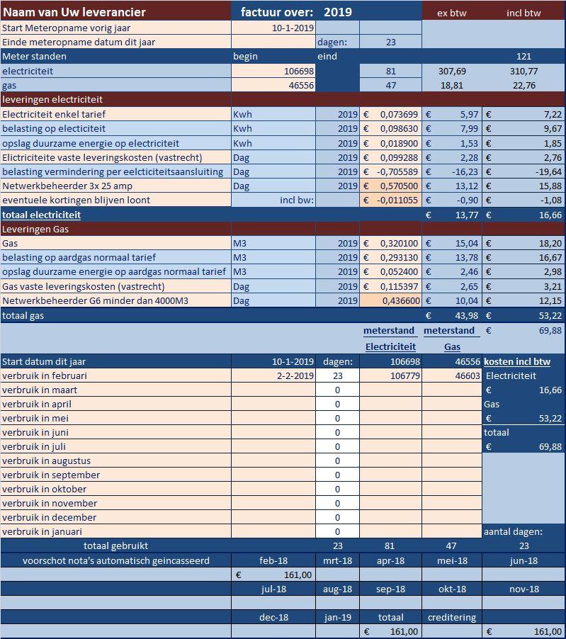 Energiebeheer ingericht voor meter opname ivm maandelijks voorschot