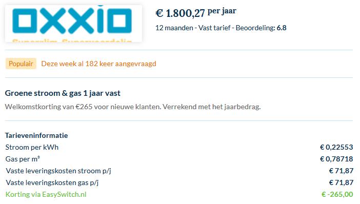 prijslijst oxio inclusief alles
