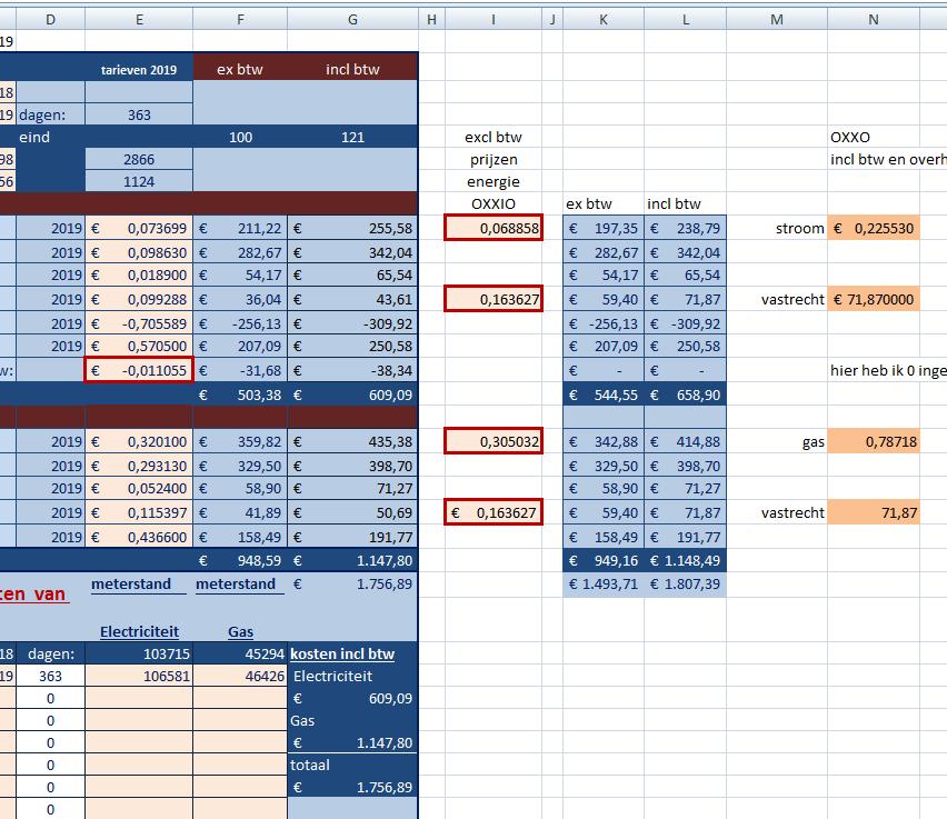 Excel vergelijkingsmodule overstappen van energieleverancier