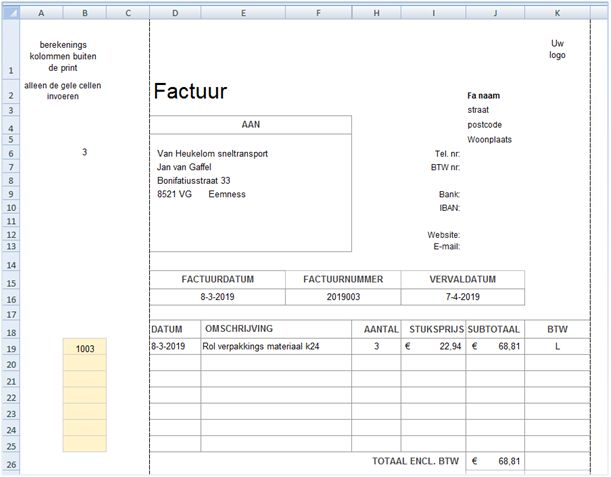 Factuur In Excel Excel Spreadsheetnl